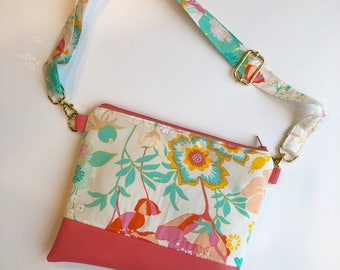 Clearance! Amy butler floral girls crossbody purse with coral faux