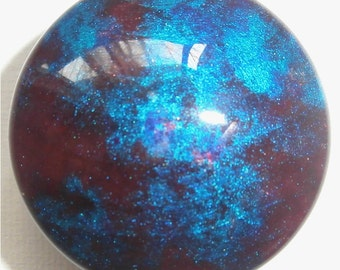 Custom made One of a Kind Furniture and Cabinet Knobs-Glitter Plum and Metallic Teal