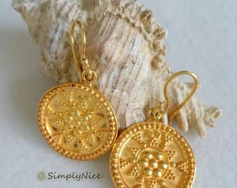 Etruscan Coin Large Earrings Gold