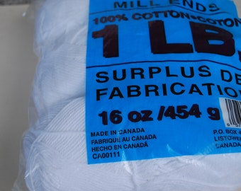 1 lb factory mill ends Cotton Yarn White, 3 Balls . made in Canada