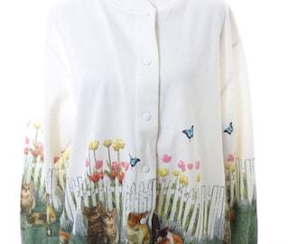 Garden Kittens Cat Cardigan Size Large