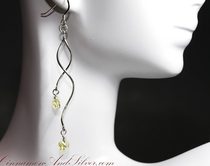 Elegant Tiny Yellow Butterfly Swarovski Crystal and Sterling Silver Twist Dangle Earrings, Sparkling Yellow Crystal Butterfly Twist Earrings
