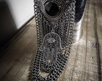 """""""Hamsa"""" silver chain cuff"""