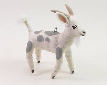 READY TO SHIP Vintage Inspired Spun Cotton Goat Ornament/Figure