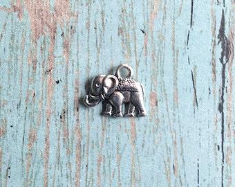 10 Tiny Elephant charms (2 sided) antique silver tone - silver elephant pendants, zoo animal charms, Alabama charm, pachyderm charms, A12