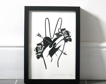 Contemporary limited edition handmade screen print entitled PEACE from the LOVE//SPREADS series - Illustration - hand / rose / heart / arrow