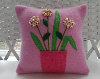 Recycled Cashmere Decorative Flower Pillow - Flowers in Canning Jar - Pink