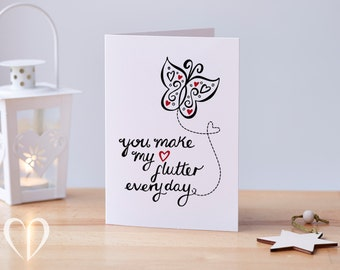 Love Card – Butterfly – You Make My Heart Flutter Every Day