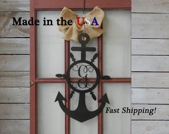 "30"" Tall Large Anchor with Vine Monogram Wheel, Door Decor, Front Door, Sailor, Nautical Anchor Decor, Metal, Sign, Wedding Decor, S1189"