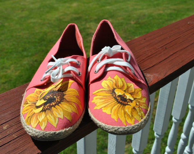 Pretty Sunflower Hand Painted  Garden Shoes size 10 - SOLD