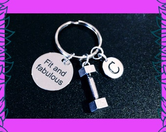 Gym keyring, fitness keychain, strong is beautiful charm, 3D dumbbell charm, personalised letter charm key chain, gym bag accessory