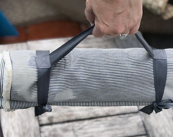 Picnic Blanket Cotton Denim Engineer Stripe with Pocket,  Gray Carry Ties, Beach Blanket,  Wedding, Anniversary gift