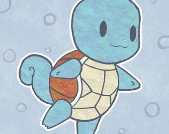 "A4 ""Squirtle Dancing In Bubbles"" Print. Pokemon Fanart."