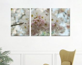 3 piece wall art, cherry blossom sakura art, 3 panel wall art, Spring floral extra large wall art canvas, shabby chic bedroom wall decor