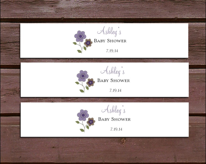 25 PURPLE & BROWN DAISIES Baby Shower Invitation Belly Bands Wraps.  Includes personalization and  printing