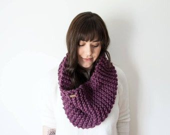 Knit Scarf Chunky Infinity Purple Cowl in *Jam* - The 'Sokoke' Chunky Knitted Circle Cowl
