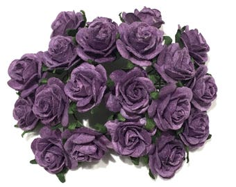 Plum Open Mulberry Paper Roses Or029