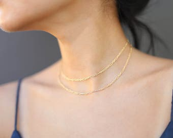 Halo Double chain layered necklace // simple and delicate thin wrap Chain Necklace in gold filled or sterling silver