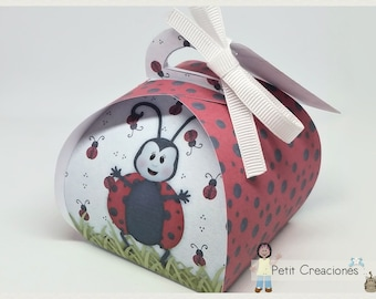 "PRINTABLE Curvy keepsake gift BOX ""Lady bug"" DIY, treat box, place holder, gift idea for party"