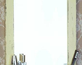 Yellow Shabby Chic Wooden Mirror, Vintage mirror, wall mirror