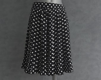Vintage polka dot pleated skirt Black & white high waist size about L