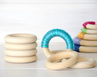"5 or 10 Wood Rings - Medium Wooden Rings - 2-1/2"" Wood Rings (62MM) - Natural Wood - DIY Teethers - Toss Rings - DIY Wood Crafts - Wood Ring"