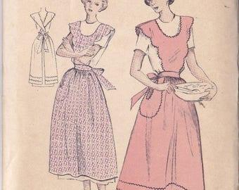 Vintage Scalloped Bib Full Length Apron Pattern ~ Butterick Number 5094 ~ Large Size 38 ~ 40 ~ U Shaped Neckline ~ Factory Folded