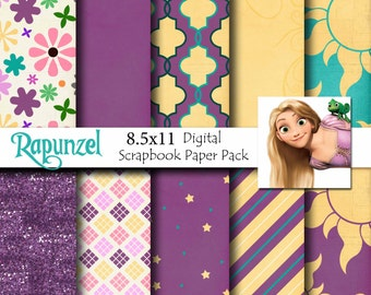 Rapunzel Disney Tangled Inspired 8.5x11 A4 Digital Paper Pack for Digital Scrapbooking, Party Supplies, etc -INSTANT DOWNLOAD