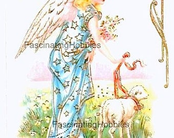 Vintage - ANGEL, SHEEP, BELLS - Embossed Greetings, blue and golden dress, white, golden bells - French stamped Postcard- Good condition