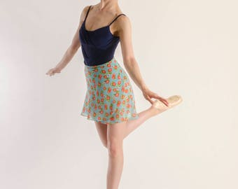 Strawberry print chiffon ballet skirt