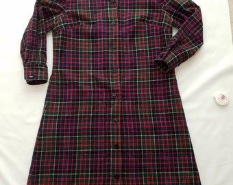 Vintage Pendleton chemise robe taille 16 laine à carreaux bleu marine rouge vacances Noël Long