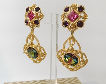 Vintage Avon Watermelon Pink Purple Rhinestone Changeable Dangle 80's-90's Gorgeous Earrings