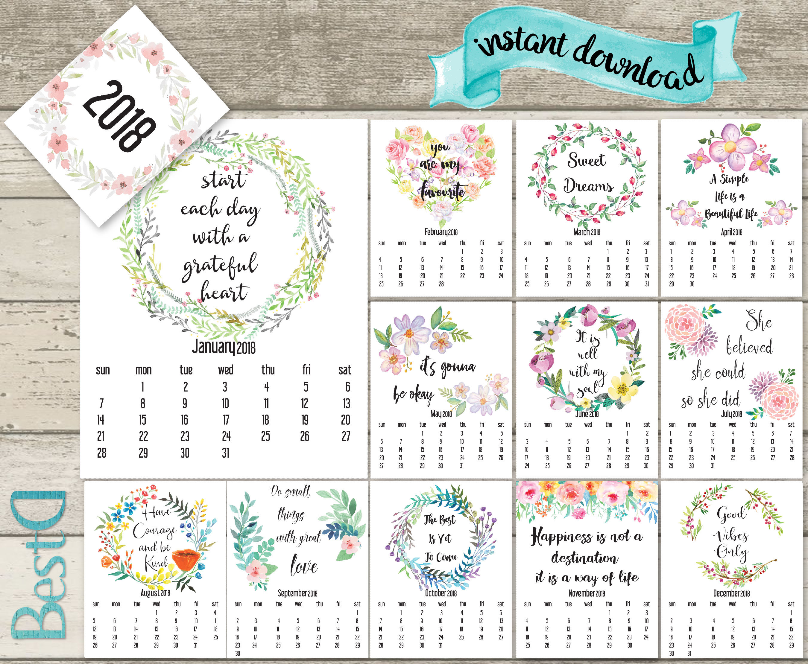 Quotes 2018 Calendar Classy 2018 Quote Printable Calendar2018 Watercolor Flowers