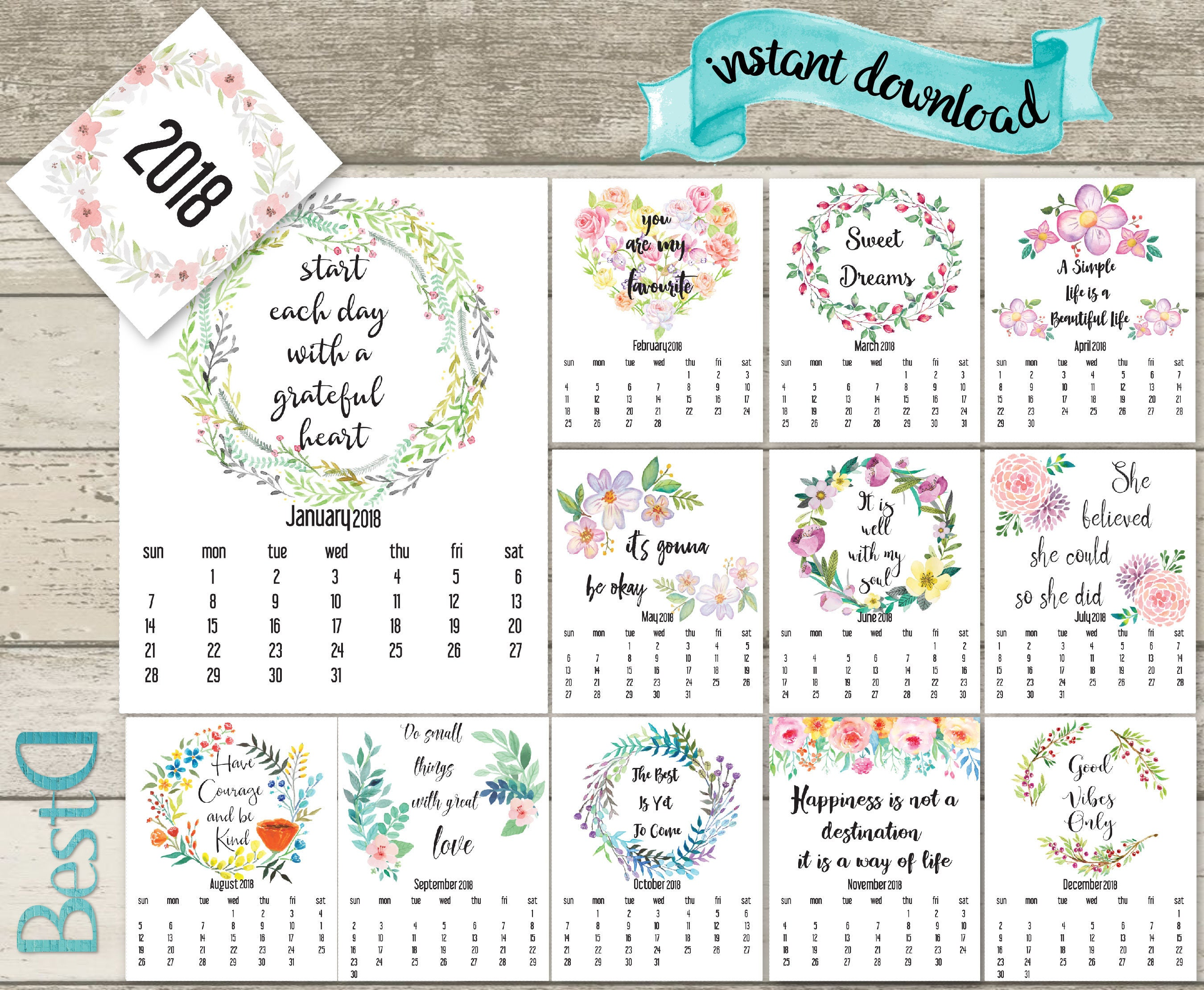 Quotes 2018 Calendar Prepossessing 2018 Quote Printable Calendar2018 Watercolor Flowers