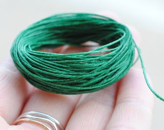Waxed Linen Cord / 10 Yards / Irish Waxed Linen / Green / 4 Ply / Macrame Cord