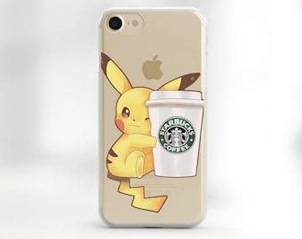 Pikachu Phone case iPhone 8 Pikachu case Rubber Case iPhone X Clear Case iPhone 8 plus Clear Pokemon Case Pikachu Starbucks iPhone X Case S9