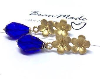 Stud earrings in Zamak and blue Briolette