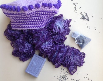 Lavender and Wisteria purple hat and scarf set-beret and scarf with Ruffles-100% Merino Wool
