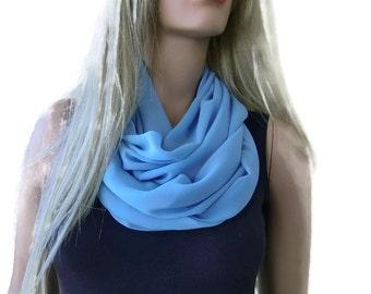 Chiffon infinity scarf,Lake blue/solid blue chiffon cowl-Extra full- Instant gratification