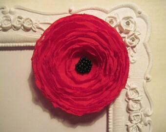 Red poppy fabric flower brooch