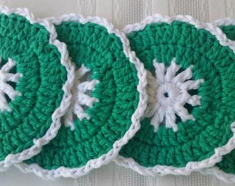cotton crochet coaster,green coaster set,cotton coaster,crochet coaster,green cotton coaster,green crochet coaster,green housewares kitchen