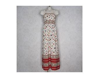 Vintage 1960s Maxi Dress / Empire Waist 60s Halter Dress / Novelty Print Cotton Column Dress / Native American Star Pattern