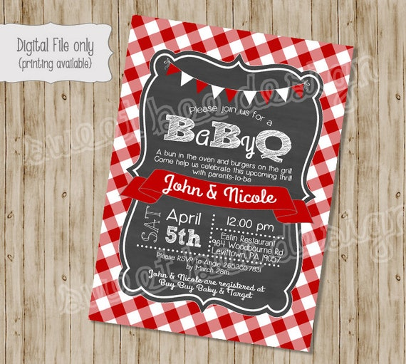 Couples Bbq Baby Shower: BABY Q Shower Invitation BBQ Joint Baby Shower Barbeque Baby