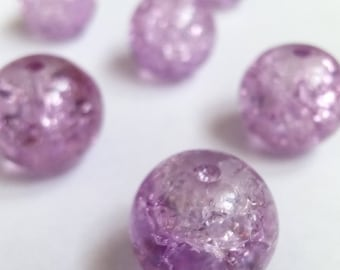 10 purple 10mm Crackle glass beads