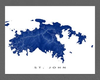 st john map print us virgin islands caribbean island art usvi