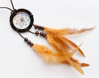 Dark Brown Dream Catcher Long Necklace --- Tribal, Bohemian, Hippie, Gypsy, Feather, Statement Necklace