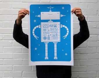 Robotics | Screen Printed Robot Silk Screen Poster | Illustrated Hand Printed Kids room Art Print | Screen Print Poster