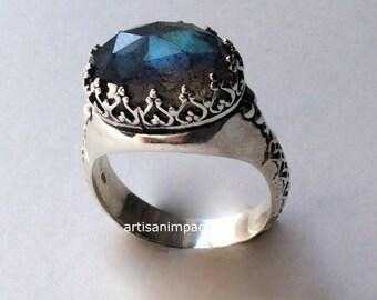 Silver engagement Ring, stone ring, Labradorite Ring, gypsy Ring, princess crown Ring, boho ring, hippie ring, antique - I believe. R2052 -1