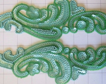 Pair of Mirrored light green and Beaded Appliques Sew on