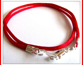25 to 40 inch Red Satin Necklace Cord, Red Satin Cord, Silver Lobster Clasp, 2mm,  Red Necklace Cord, Red Satin bridesmaid cord, Custom
